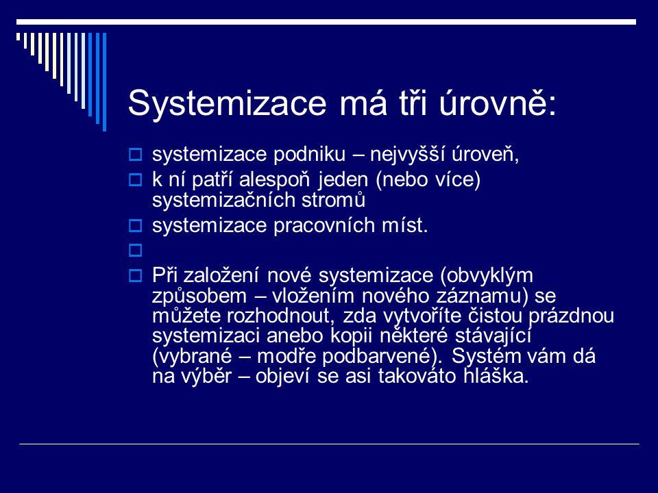 Systemizace má tři úrovně:  systemizace podniku – nejvyšší úroveň,  k ní patří alespoň jeden (nebo více) systemizačních stromů  systemizace pracovních míst.