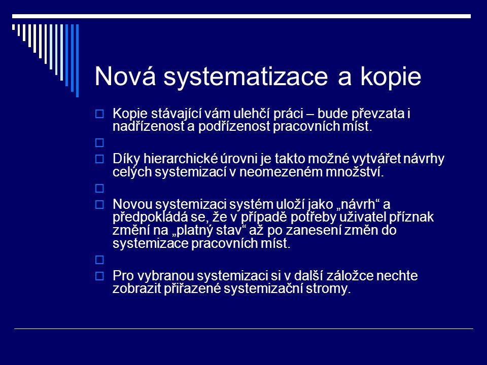 Nová systematizace a kopie  Kopie stávající vám ulehčí práci – bude převzata i nadřízenost a podřízenost pracovních míst.   Díky hierarchické úrovn