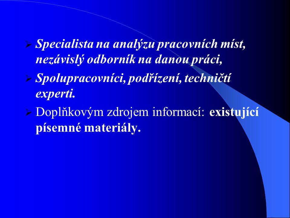  Specialista na analýzu pracovních míst, nezávislý odborník na danou práci,  Spolupracovníci, podřízení, techničtí experti.
