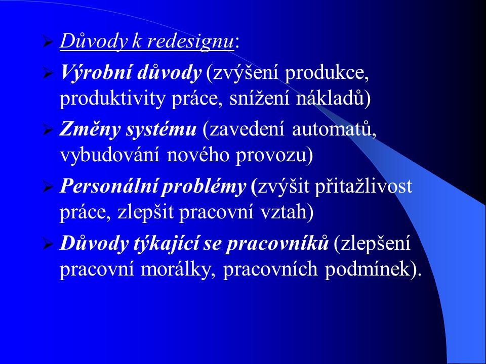  Důvody k redesignu:  Výrobní důvody (zvýšení produkce, produktivity práce, snížení nákladů)  Změny systému (zavedení automatů, vybudování nového provozu)  Personální problémy (zvýšit přitažlivost práce, zlepšit pracovní vztah)  Důvody týkající se pracovníků (zlepšení pracovní morálky, pracovních podmínek).