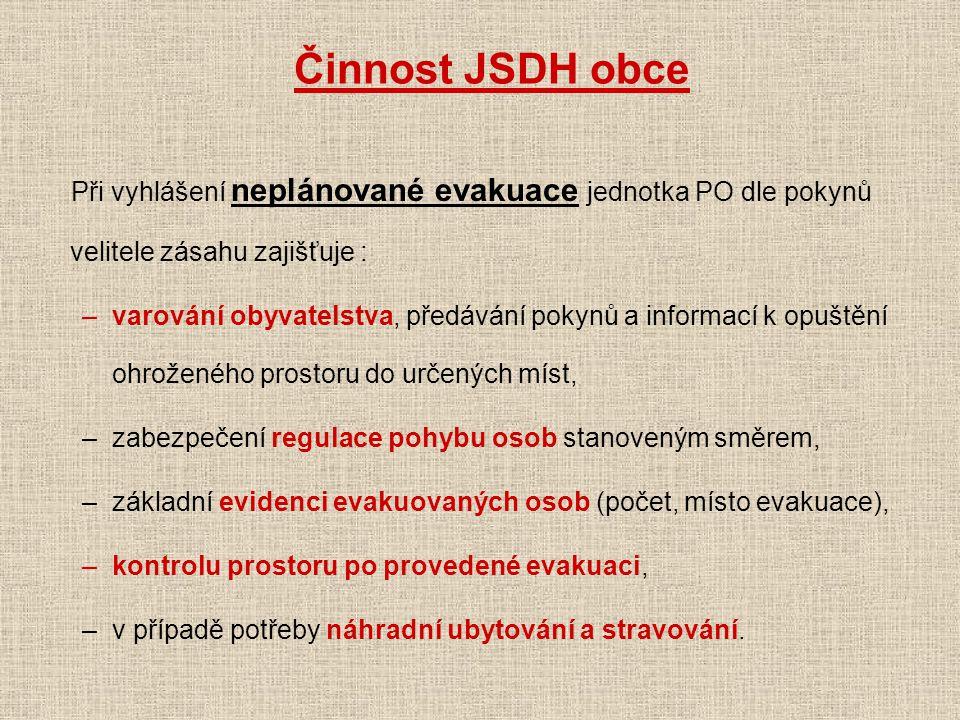 Činnost JSDH obce Při vyhlášení neplánované evakuace jednotka PO dle pokynů velitele zásahu zajišťuje : –varování obyvatelstva, předávání pokynů a inf