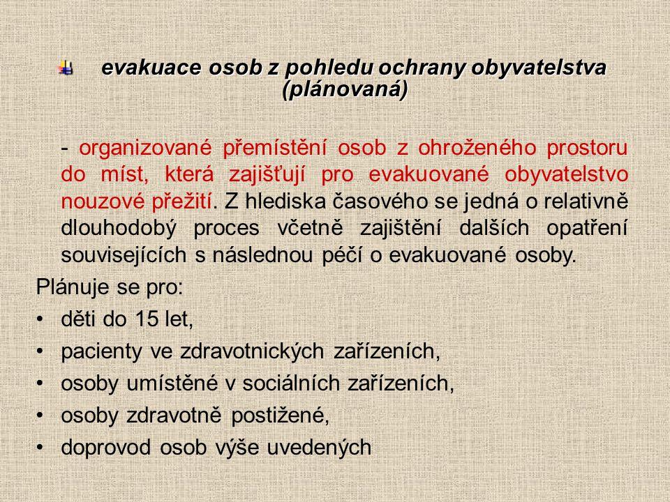 evakuace osob z pohledu ochrany obyvatelstva (plánovaná) evakuace osob z pohledu ochrany obyvatelstva (plánovaná) - organizované přemístění osob z ohr