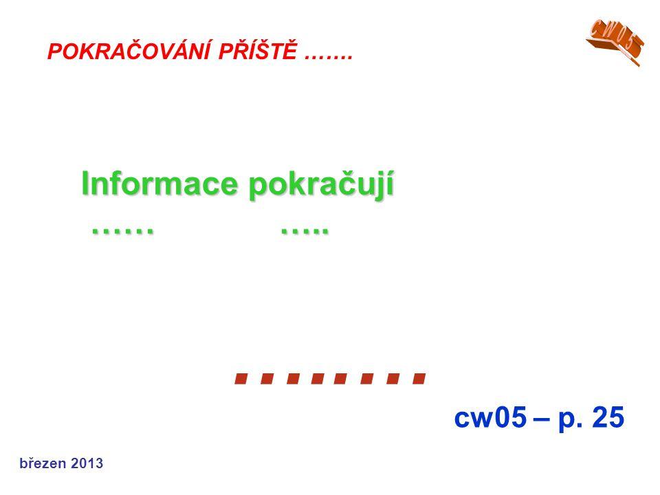 březen 2013 …..… cw05 – p. 25 POKRAČOVÁNÍ PŘÍŠTĚ ……. Informace pokračují ……….. ………..