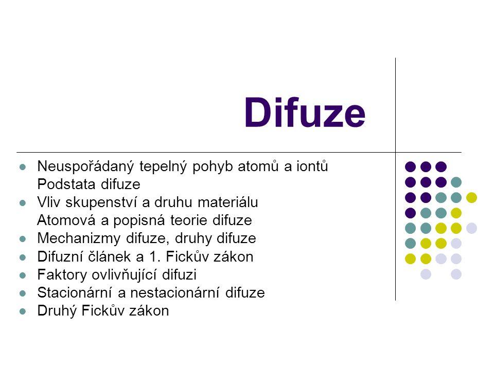Difuze Neuspořádaný tepelný pohyb atomů a iontů Podstata difuze Vliv skupenství a druhu materiálu Atomová a popisná teorie difuze Mechanizmy difuze, druhy difuze Difuzní článek a 1.