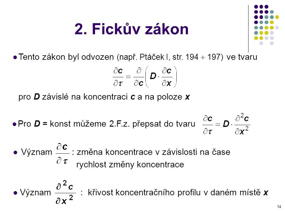 14 2. Fickův zákon Tento zákon byl odvozen (např. Ptáček I, str. 194  197) ve tvaru pro D závislé na koncentraci c a na poloze x Význam : změna konce