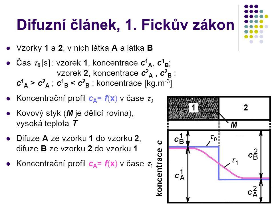 8 Difuzní článek, 1. Fickův zákon Vzorky 1 a 2, v nich látka A a látka B Čas   [s]   vzorek 1, koncentrace c 1 A, c 1 B ; vzorek 2, koncentrace c
