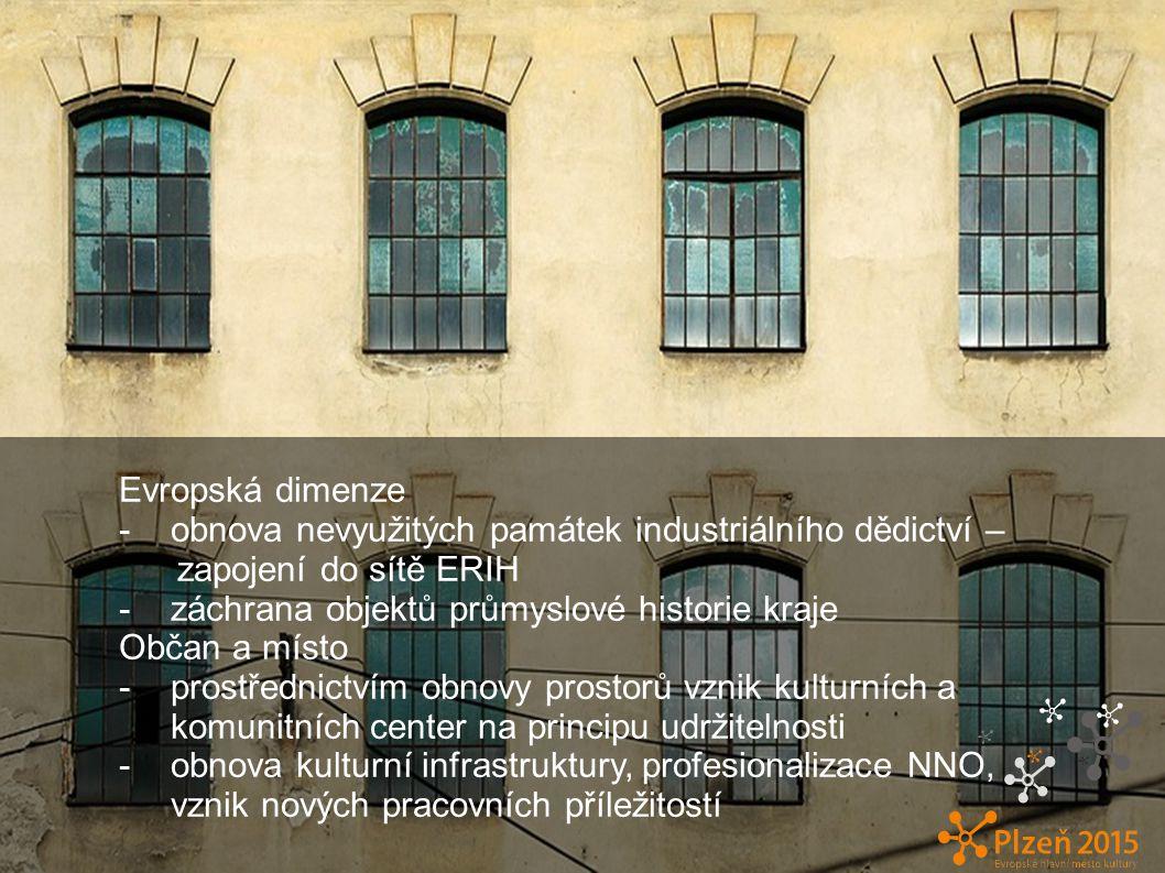 Evropská dimenze -obnova nevyužitých památek industriálního dědictví – zapojení do sítě ERIH -záchrana objektů průmyslové historie kraje Občan a místo -prostřednictvím obnovy prostorů vznik kulturních a komunitních center na principu udržitelnosti -obnova kulturní infrastruktury, profesionalizace NNO, vznik nových pracovních příležitostí c