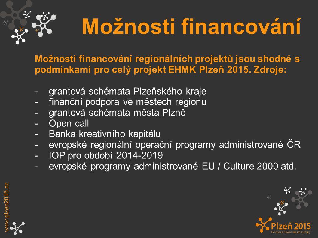 Možnosti financování www.plzen2015.cz Možnosti financování regionálních projektů jsou shodné s podmínkami pro celý projekt EHMK Plzeň 2015.