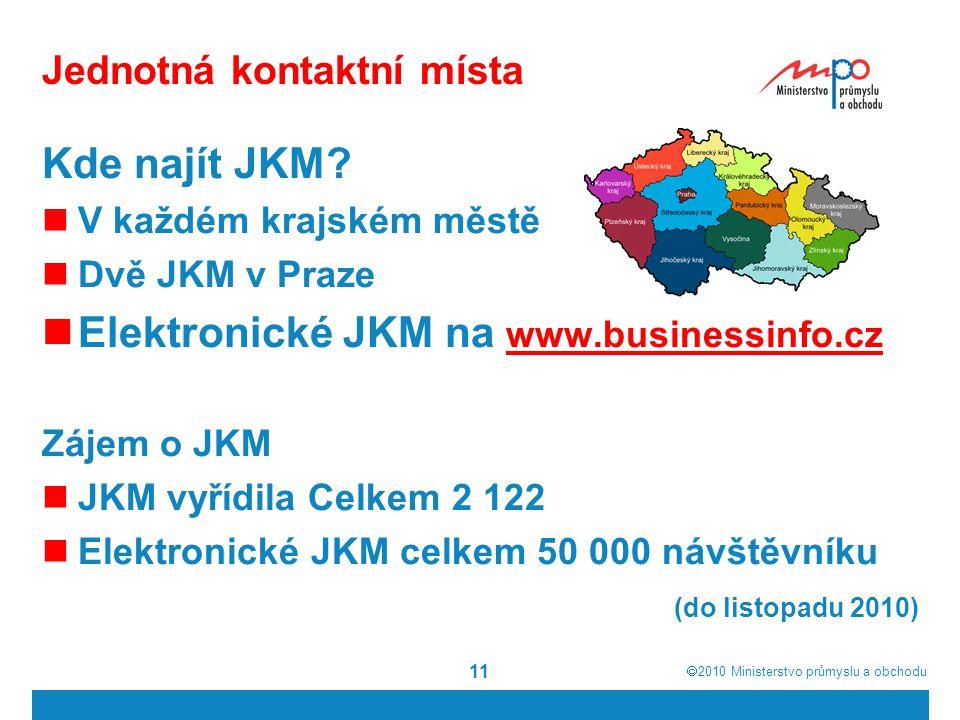  2010  Ministerstvo průmyslu a obchodu 11 Jednotná kontaktní místa Kde najít JKM.