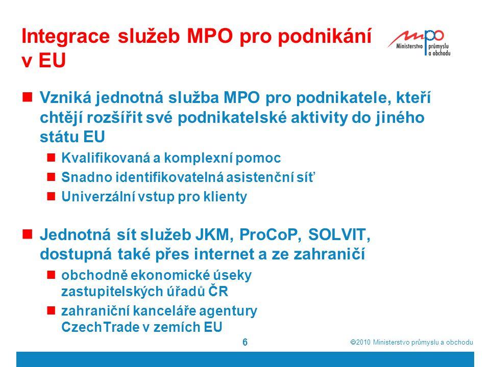  2010  Ministerstvo průmyslu a obchodu 6 Integrace služeb MPO pro podnikání v EU Vzniká jednotná služba MPO pro podnikatele, kteří chtějí rozšířit své podnikatelské aktivity do jiného státu EU Kvalifikovaná a komplexní pomoc Snadno identifikovatelná asistenční síť Univerzální vstup pro klienty Jednotná sít služeb JKM, ProCoP, SOLVIT, dostupná také přes internet a ze zahraničí obchodně ekonomické úseky zastupitelských úřadů ČR zahraniční kanceláře agentury CzechTrade v zemích EU