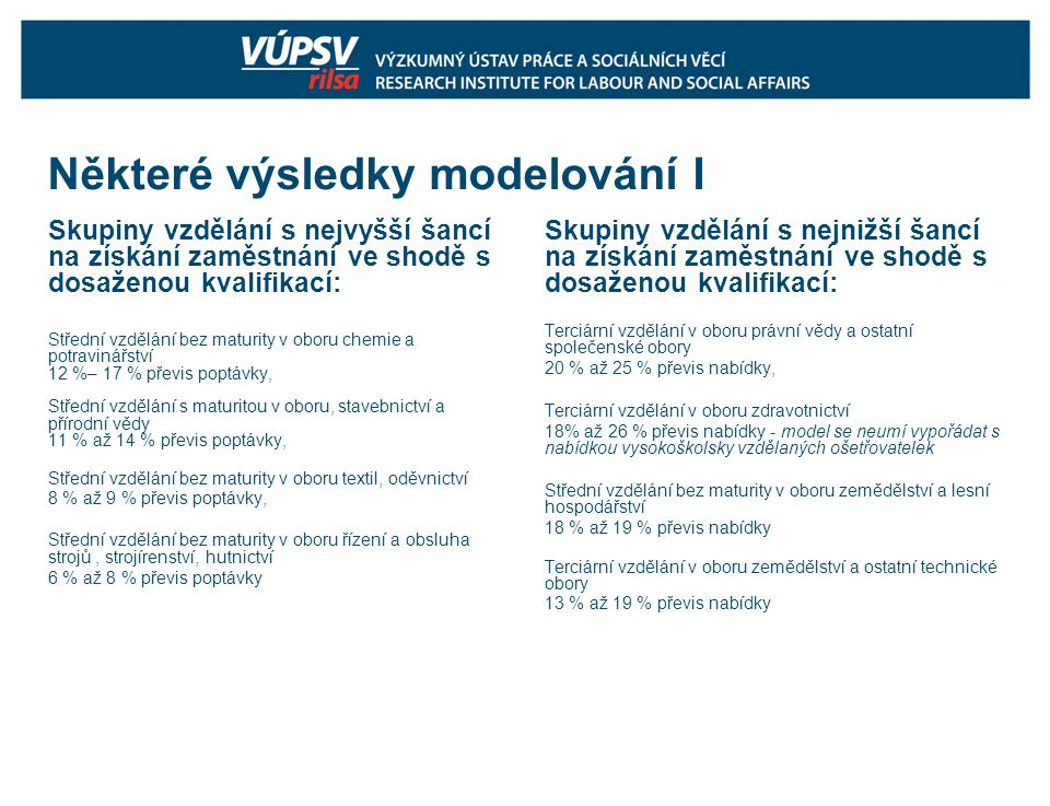 Některé výsledky modelování I Skupiny vzdělání s nejvyšší šancí na získání zaměstnání ve shodě s dosaženou kvalifikací: Střední vzdělání bez maturity