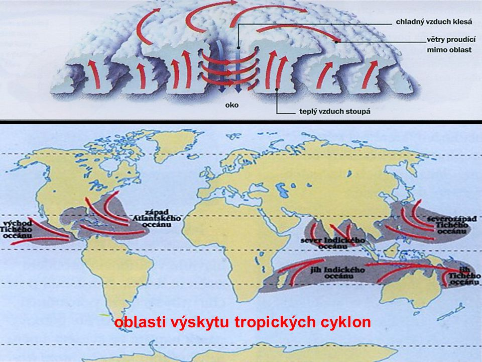 25 oblasti výskytu tropických cyklon