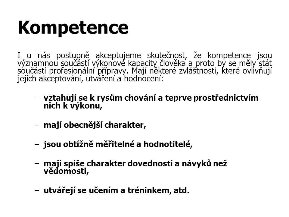 Kompetence I u nás postupně akceptujeme skutečnost, že kompetence jsou významnou součástí výkonové kapacity člověka a proto by se měly stát součástí profesionální přípravy.