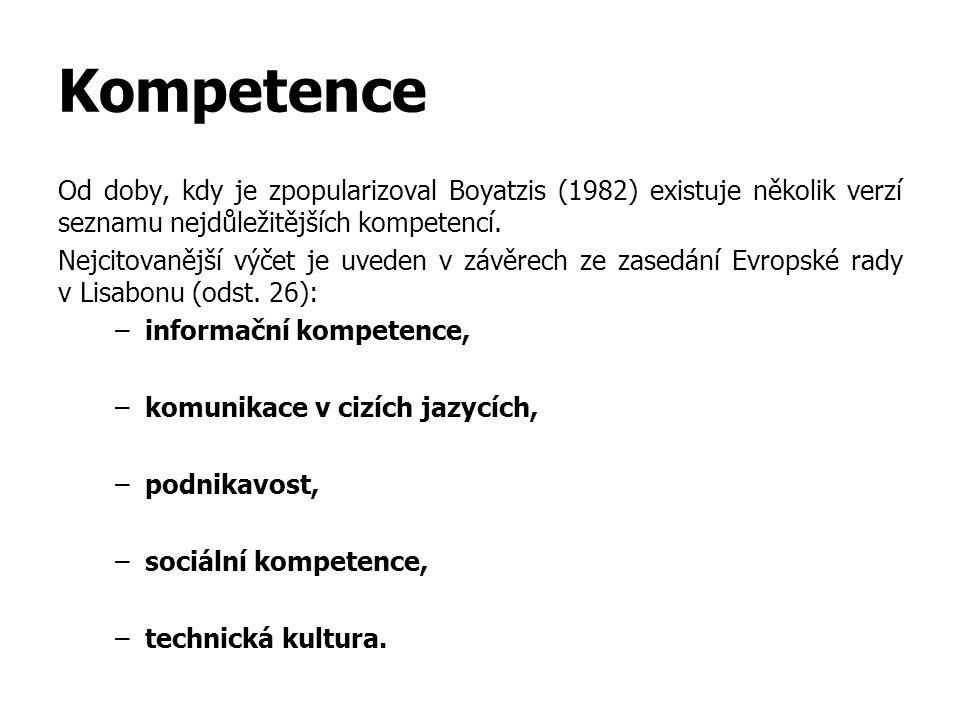 Kompetence Od doby, kdy je zpopularizoval Boyatzis (1982) existuje několik verzí seznamu nejdůležitějších kompetencí. Nejcitovanější výčet je uveden v