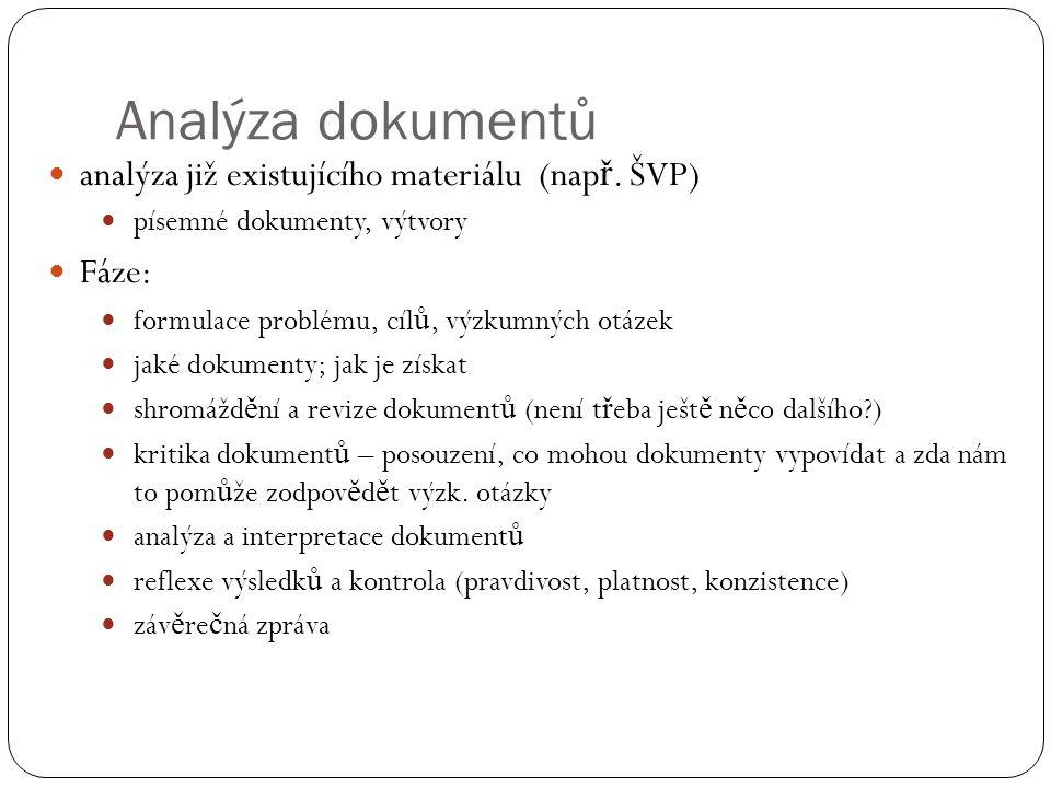 Analýza dokumentů analýza již existujícího materiálu (nap ř.