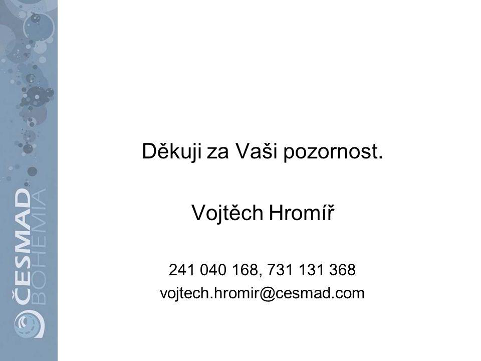 Děkuji za Vaši pozornost. Vojtěch Hromíř 241 040 168, 731 131 368 vojtech.hromir@cesmad.com