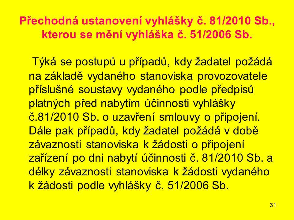 31 Přechodná ustanovení vyhlášky č.81/2010 Sb., kterou se mění vyhláška č.