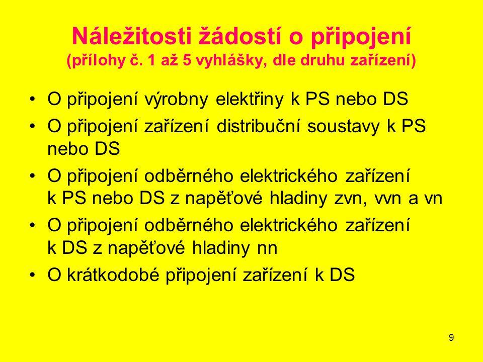 9 Náležitosti žádostí o připojení (přílohy č.