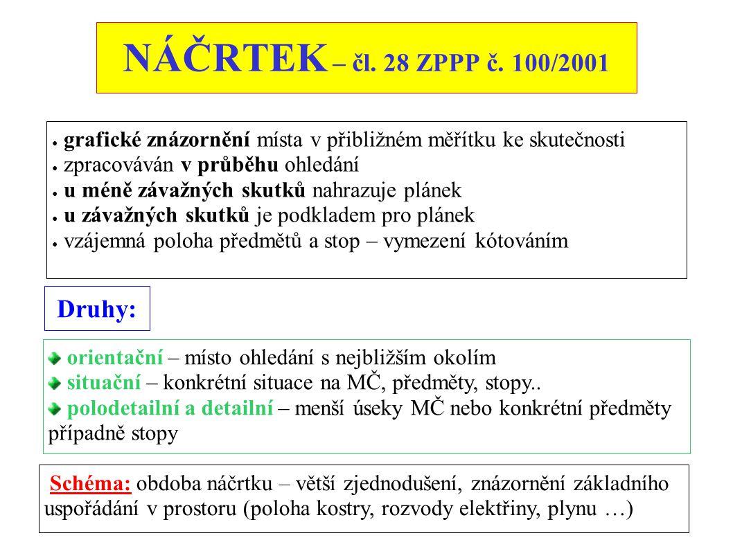 NÁČRTEK – čl. 28 ZPPP č. 100/2001 ● grafické znázornění místa v přibližném měřítku ke skutečnosti ● zpracováván v průběhu ohledání ● u méně závažných
