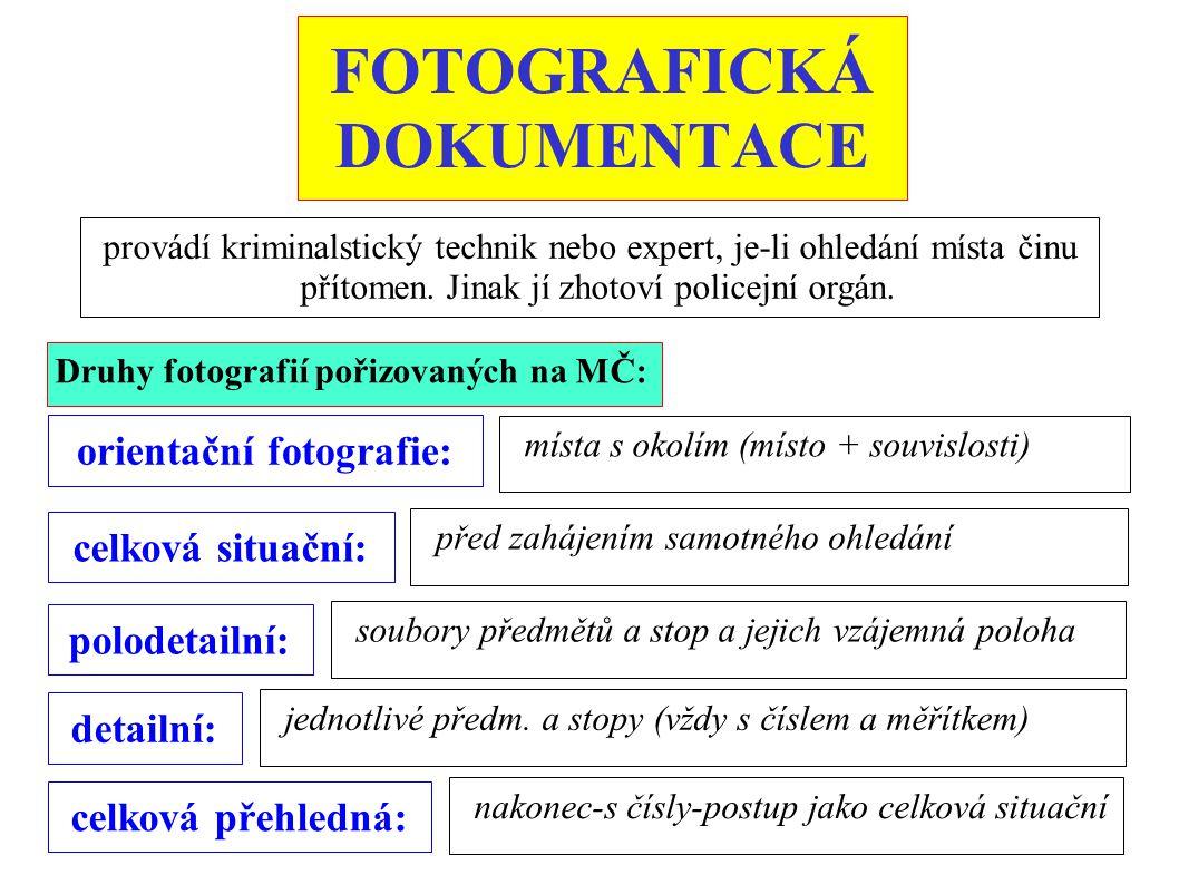 FOTOGRAFICKÁ DOKUMENTACE provádí kriminalstický technik nebo expert, je-li ohledání místa činu přítomen. Jinak jí zhotoví policejní orgán. orientační
