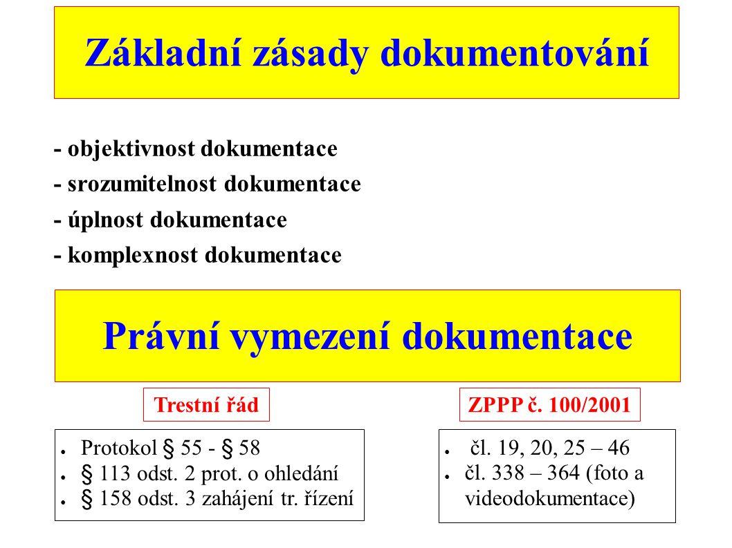 Právní vymezení dokumentace - objektivnost dokumentace - srozumitelnost dokumentace - úplnost dokumentace - komplexnost dokumentace Základní zásady do