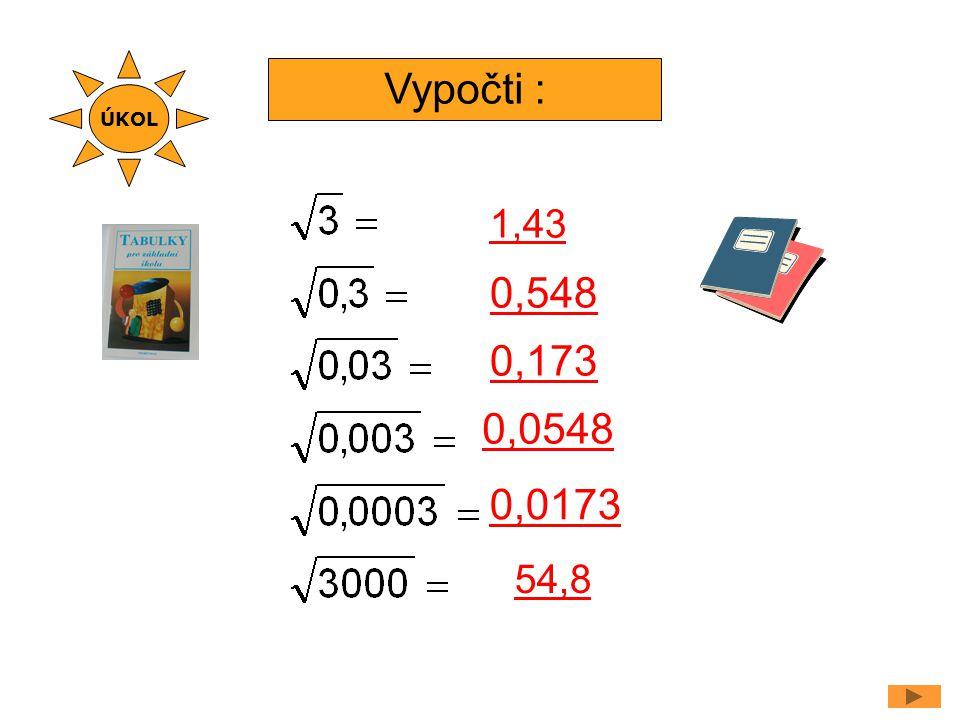 Vypočti : 1,43 0,173 0,548 0,0548 0,0173 ÚKOL 54,8