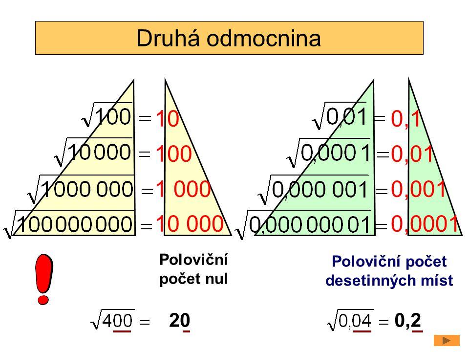 Druhá odmocnina 10 100 1 000 10 000 0,1 0,01 0,001 0,0001 Poloviční počet nul Poloviční počet desetinných míst 200,2