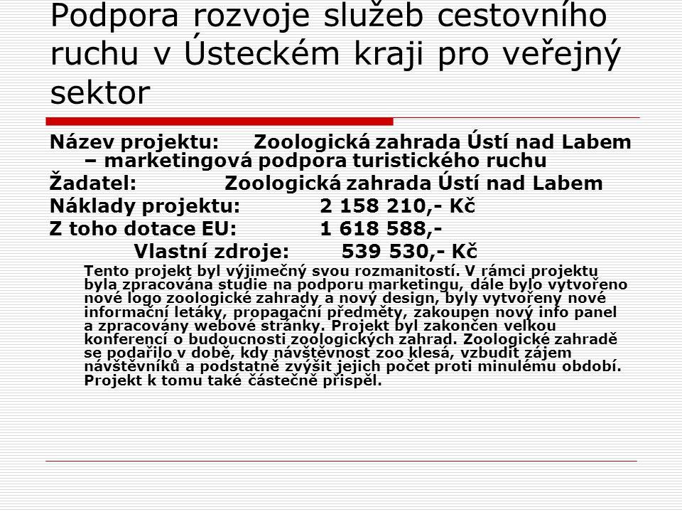 Podpora rozvoje služeb cestovního ruchu v Ústeckém kraji pro veřejný sektor Název projektu: Zoologická zahrada Ústí nad Labem – marketingová podpora t