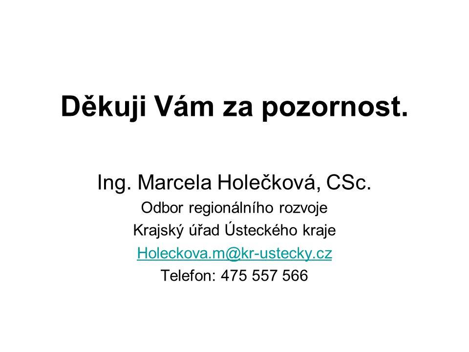 Děkuji Vám za pozornost. Ing. Marcela Holečková, CSc. Odbor regionálního rozvoje Krajský úřad Ústeckého kraje Holeckova.m@kr-ustecky.cz Telefon: 475 5