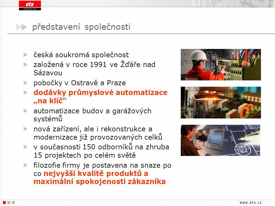 představení společnosti > česká soukromá společnost > založená v roce 1991 ve Žďáře nad Sázavou > pobočky v Ostravě a Praze > dodávky průmyslové autom