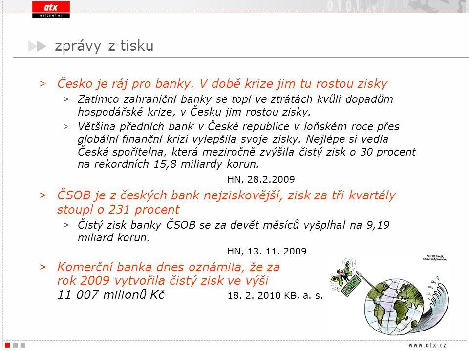 zprávy z tisku > Česko je ráj pro banky. V době krize jim tu rostou zisky > Zatímco zahraniční banky se topí ve ztrátách kvůli dopadům hospodářské kri