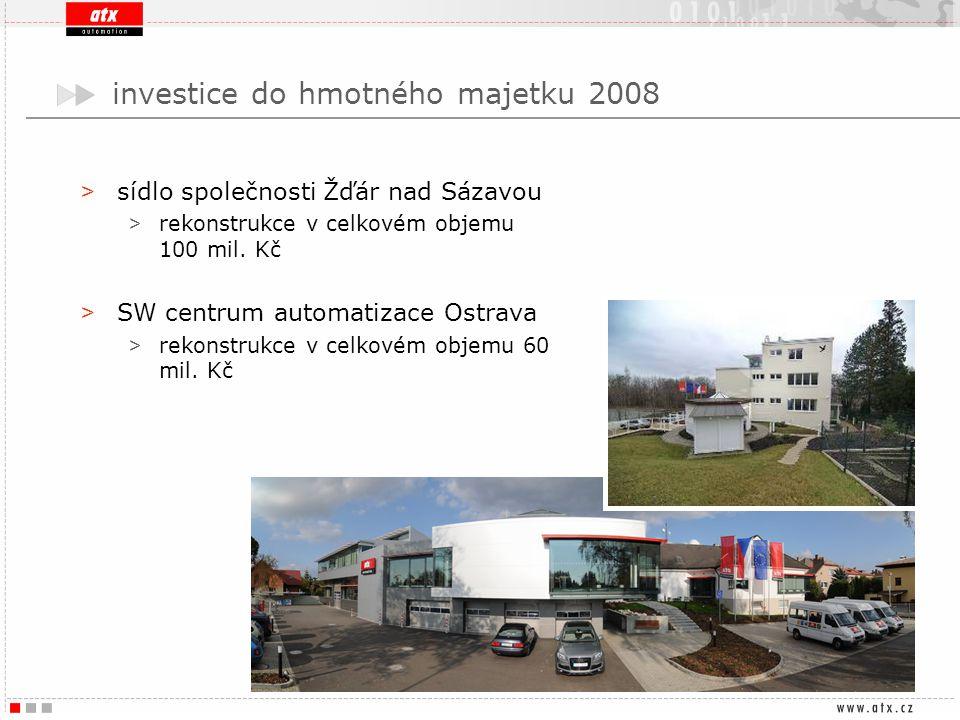 investice do hmotného majetku 2008 > sídlo společnosti Žďár nad Sázavou > rekonstrukce v celkovém objemu 100 mil. Kč > SW centrum automatizace Ostrava