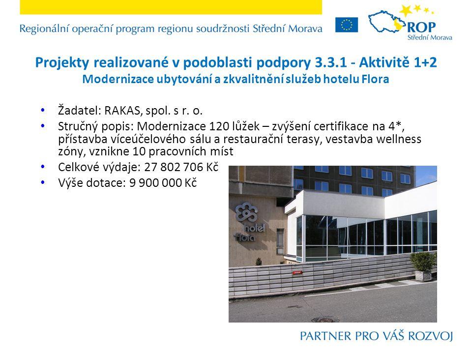 Projekty realizované v podoblasti podpory 3.3.1 - Aktivitě 1+2 Výstavba Hotelu U Parku Žadatel: HOTEL U PARKU, s.