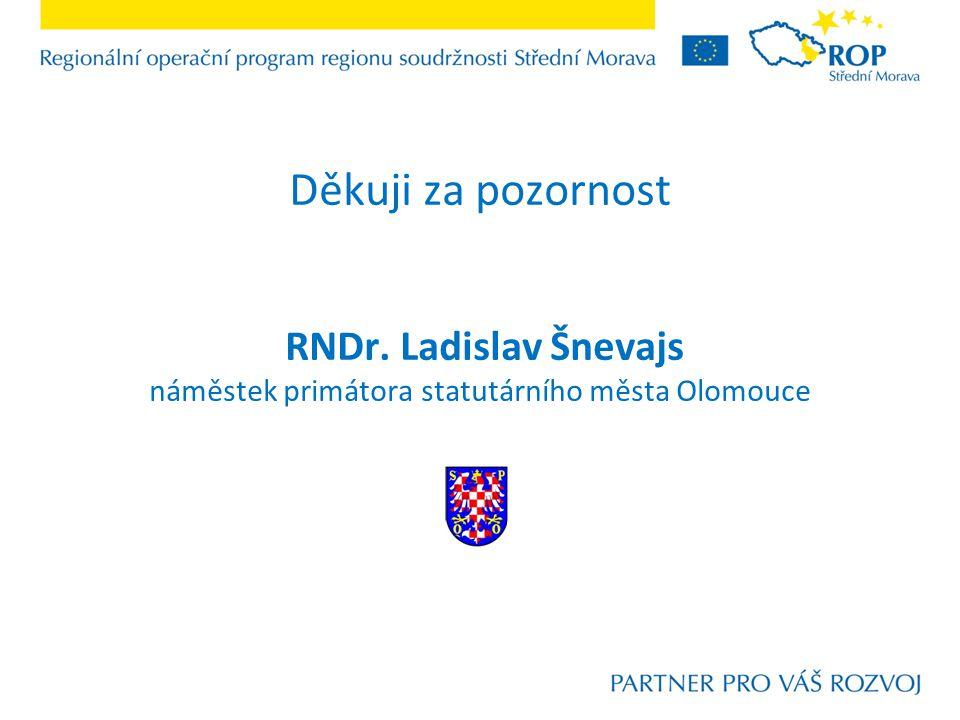 Děkuji za pozornost RNDr. Ladislav Šnevajs náměstek primátora statutárního města Olomouce