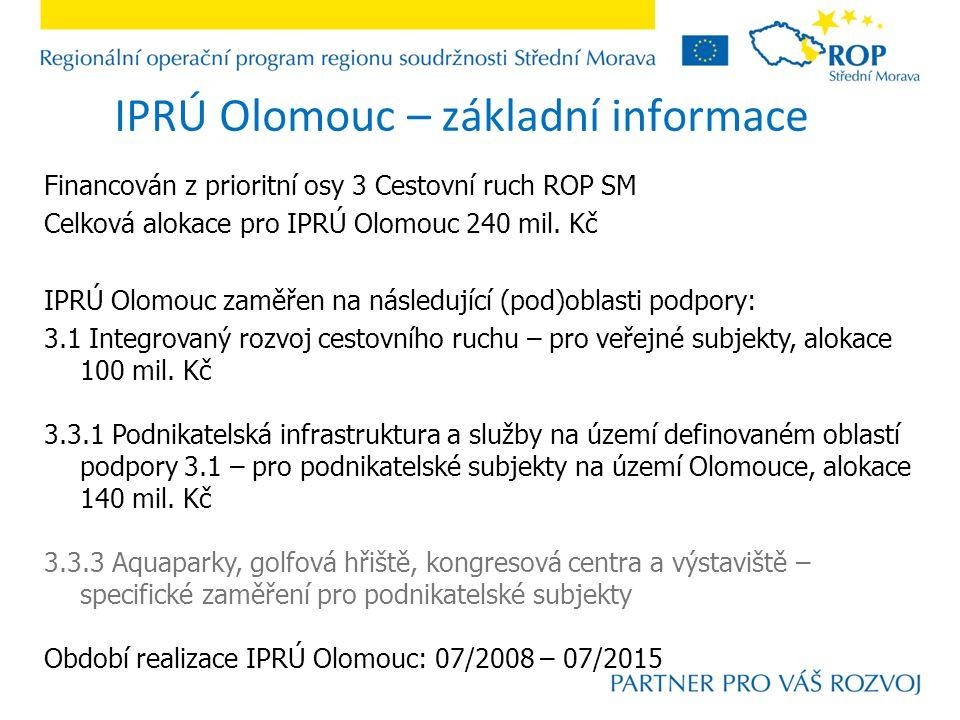 IPRÚ Olomouc – základní informace Financován z prioritní osy 3 Cestovní ruch ROP SM Celková alokace pro IPRÚ Olomouc 240 mil.