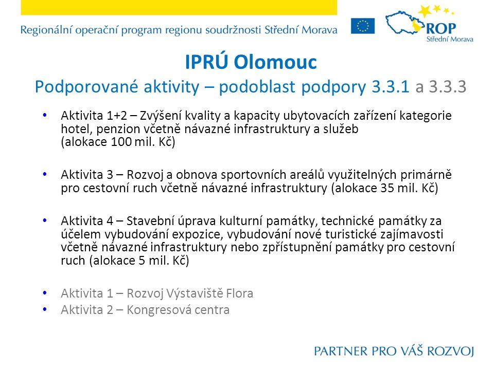 IPRÚ Olomouc Podporované aktivity – podoblast podpory 3.3.1 a 3.3.3 Aktivita 1+2 – Zvýšení kvality a kapacity ubytovacích zařízení kategorie hotel, penzion včetně návazné infrastruktury a služeb (alokace 100 mil.