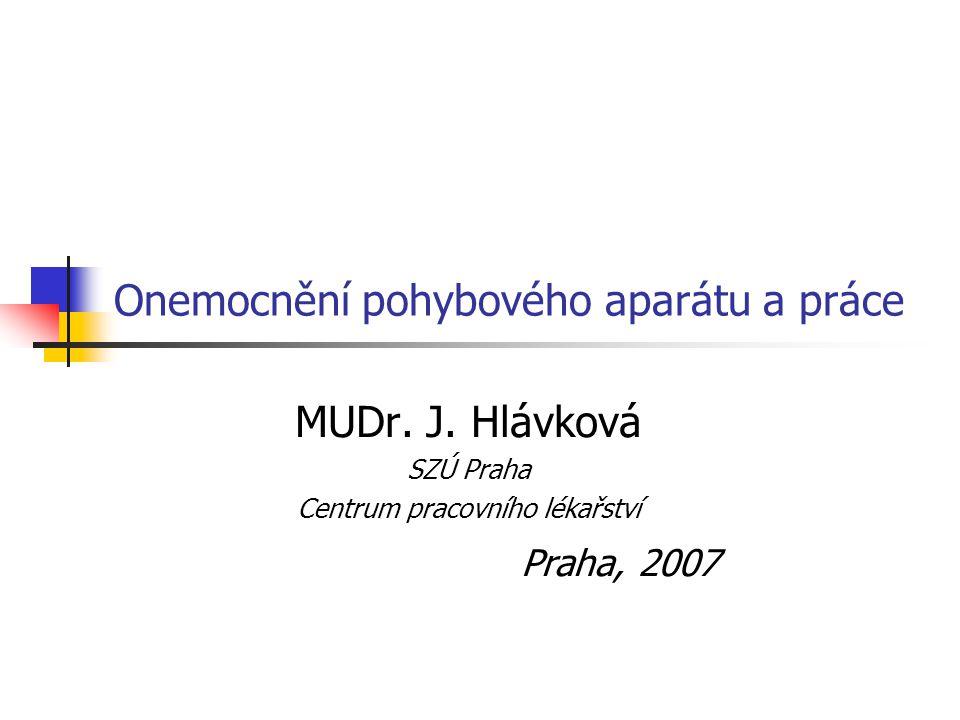 Onemocnění pohybového aparátu a práce MUDr. J. Hlávková SZÚ Praha Centrum pracovního lékařství Praha, 2007