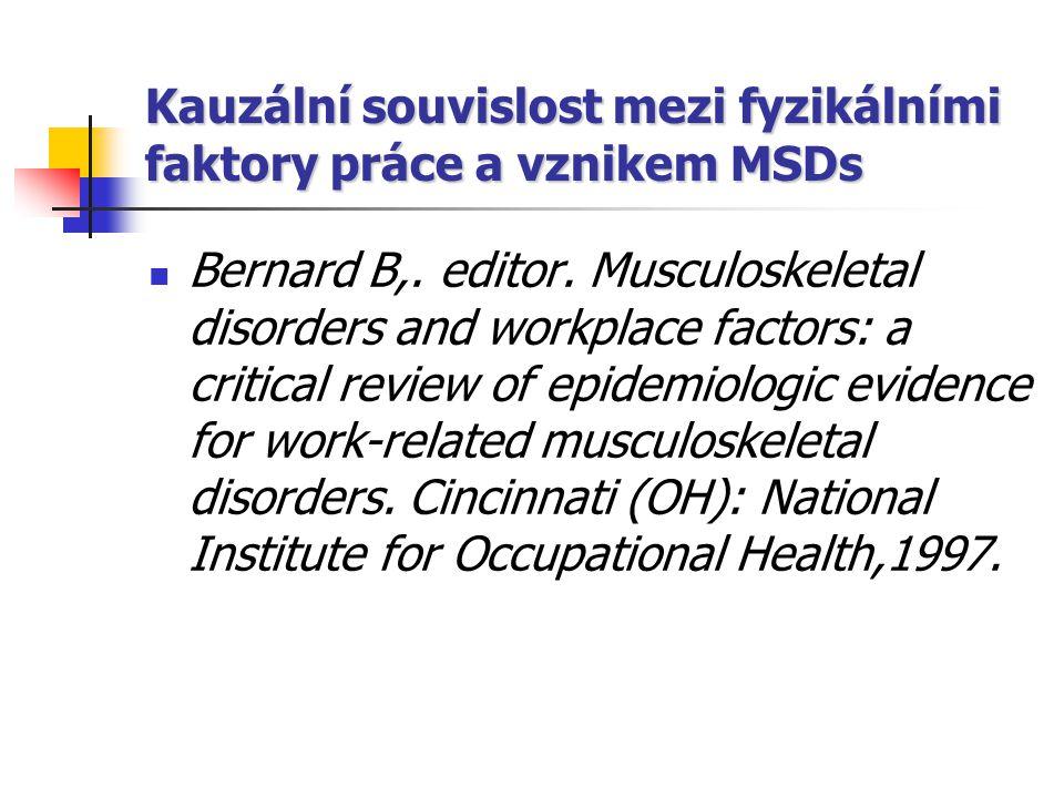 Kauzální souvislost mezi fyzikálními faktory práce a vznikem MSDs Bernard B,. editor. Musculoskeletal disorders and workplace factors: a critical revi