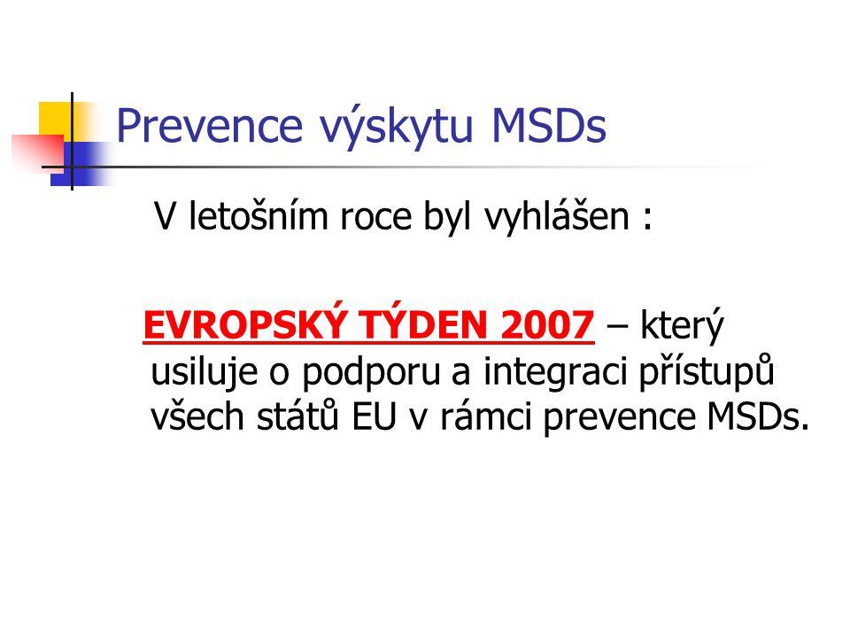 Prevence výskytu MSDs V letošním roce byl vyhlášen : EVROPSKÝ TÝDEN 2007 – který usiluje o podporu a integraci přístupů všech států EU v rámci prevence MSDs.