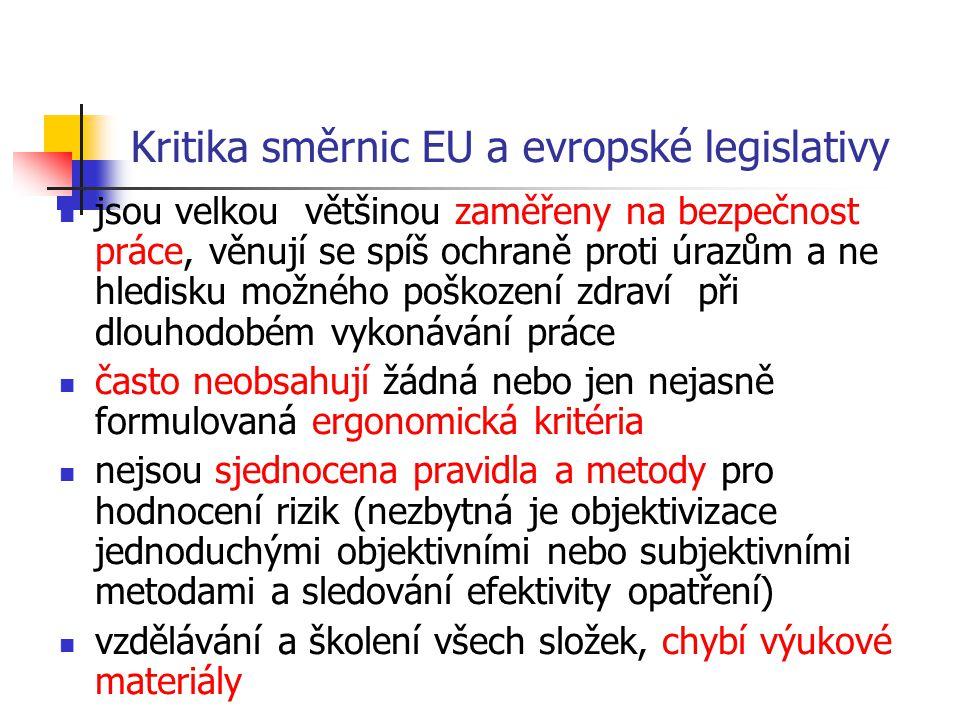 Kritika směrnic EU a evropské legislativy jsou velkou většinou zaměřeny na bezpečnost práce, věnují se spíš ochraně proti úrazům a ne hledisku možného poškození zdraví při dlouhodobém vykonávání práce často neobsahují žádná nebo jen nejasně formulovaná ergonomická kritéria nejsou sjednocena pravidla a metody pro hodnocení rizik (nezbytná je objektivizace jednoduchými objektivními nebo subjektivními metodami a sledování efektivity opatření) vzdělávání a školení všech složek, chybí výukové materiály