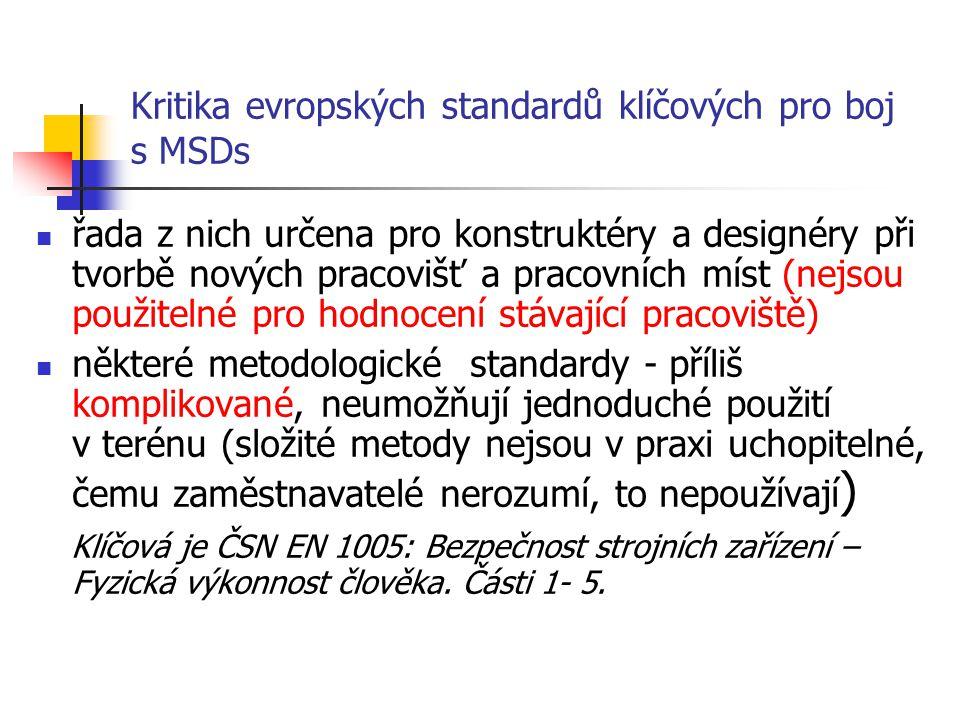 Kritika evropských standardů klíčových pro boj s MSDs řada z nich určena pro konstruktéry a designéry při tvorbě nových pracovišť a pracovních míst (nejsou použitelné pro hodnocení stávající pracoviště) některé metodologické standardy - příliš komplikované, neumožňují jednoduché použití v terénu (složité metody nejsou v praxi uchopitelné, čemu zaměstnavatelé nerozumí, to nepoužívají ) Klíčová je ČSN EN 1005: Bezpečnost strojních zařízení – Fyzická výkonnost člověka.
