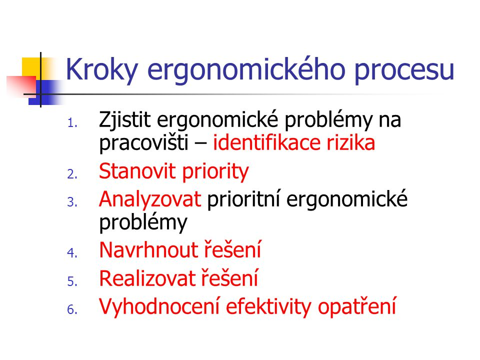 Kroky ergonomického procesu 1. Zjistit ergonomické problémy na pracovišti – identifikace rizika 2. Stanovit priority 3. Analyzovat prioritní ergonomic