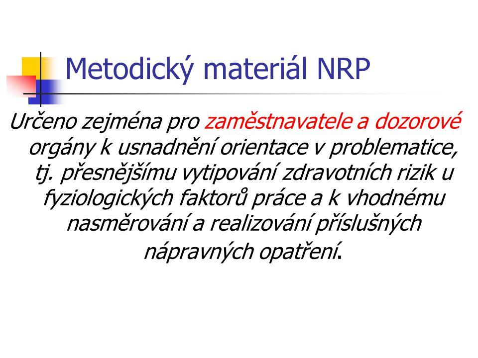 Metodický materiál NRP Určeno zejména pro zaměstnavatele a dozorové orgány k usnadnění orientace v problematice, tj. přesnějšímu vytipování zdravotníc