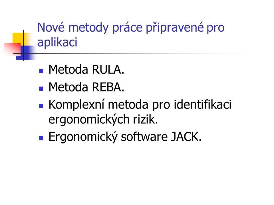 Nové metody práce připravené pro aplikaci Metoda RULA. Metoda REBA. Komplexní metoda pro identifikaci ergonomických rizik. Ergonomický software JACK.