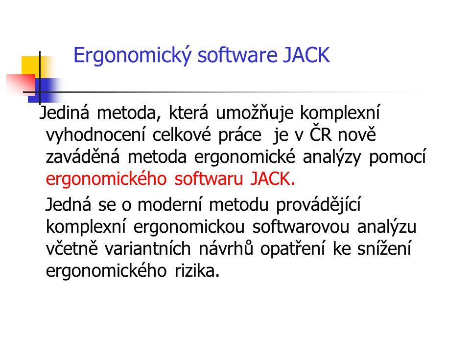Jediná metoda, která umožňuje komplexní vyhodnocení celkové práce je v ČR nově zaváděná metoda ergonomické analýzy pomocí ergonomického softwaru JACK.