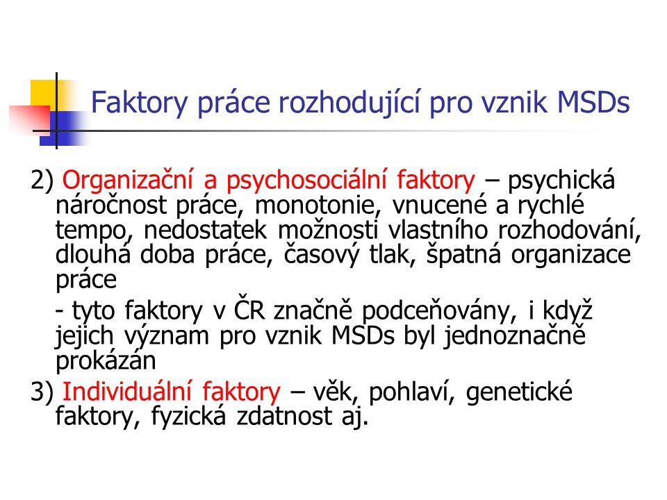 Faktory práce rozhodující pro vznik MSDs 2) Organizační a psychosociální faktory – psychická náročnost práce, monotonie, vnucené a rychlé tempo, nedos