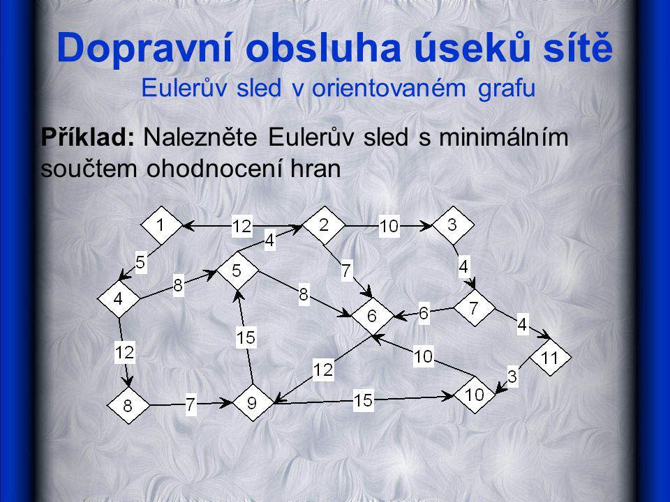 Dopravní obsluha úseků sítě Eulerův sled v orientovaném grafu Příklad: Nalezněte Eulerův sled s minimálním součtem ohodnocení hran