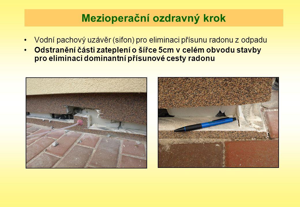 Mezioperační ozdravný krok Vodní pachový uzávěr (sifon) pro eliminaci přísunu radonu z odpadu Odstranění části zateplení o šířce 5cm v celém obvodu st