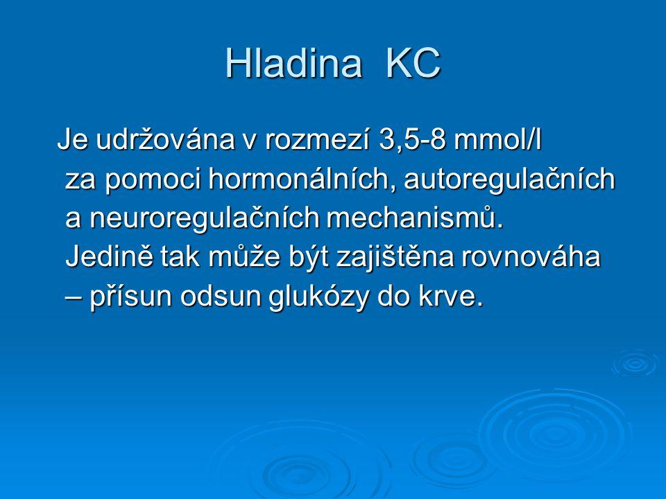 Hladina KC Je udržována v rozmezí 3,5-8 mmol/l za pomoci hormonálních, autoregulačních a neuroregulačních mechanismů.