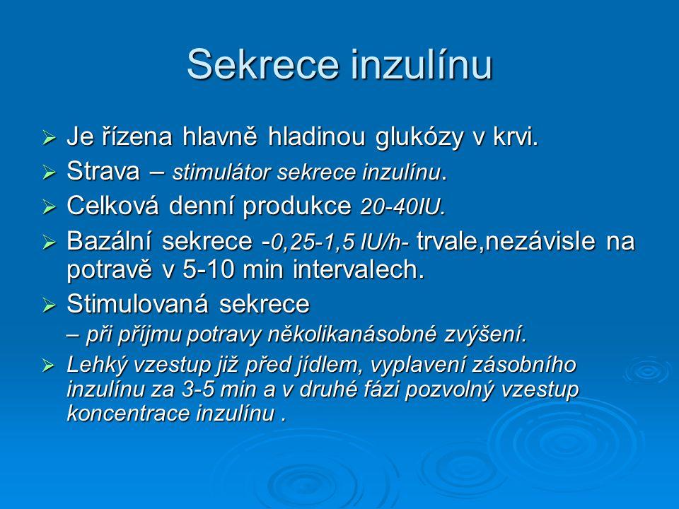 Sekrece inzulínu  Je řízena hlavně hladinou glukózy v krvi.